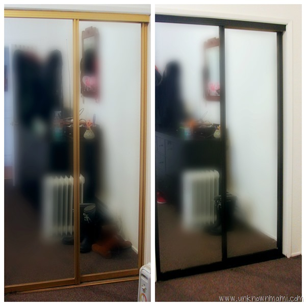 Before and after spray painted closet doors