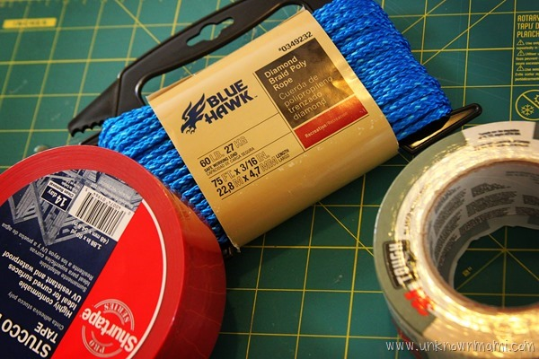 Supplies for duct tape bunting