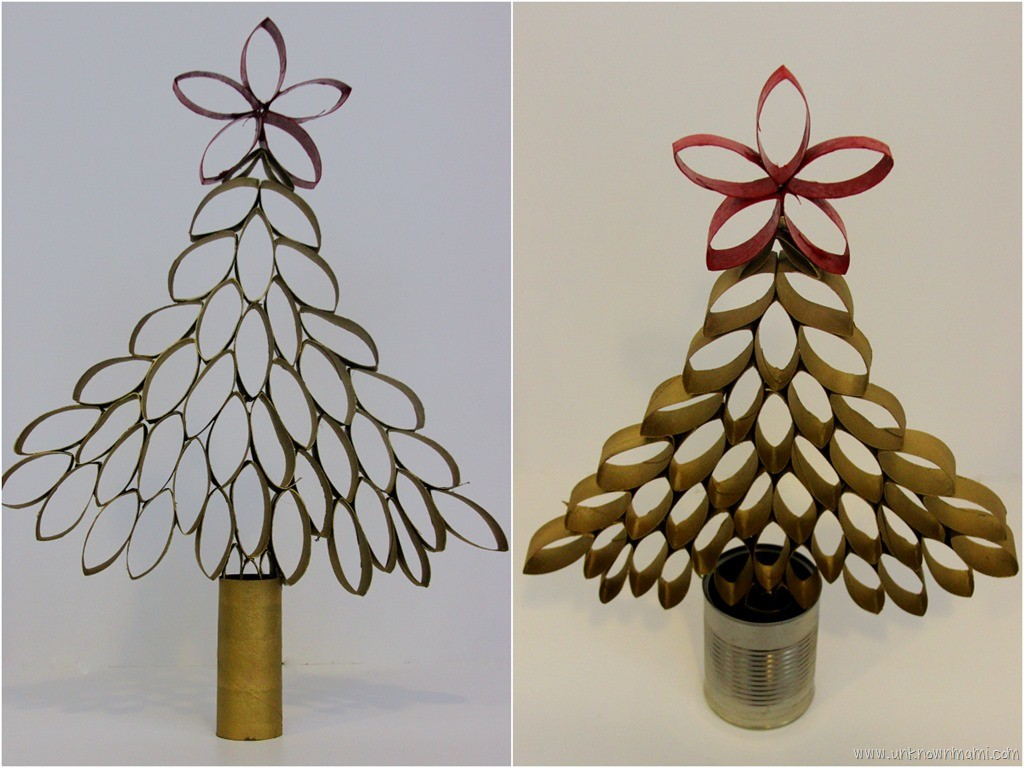 Diy toilet paper roll christmas tree unknown mami by for Diy using toilet paper rolls