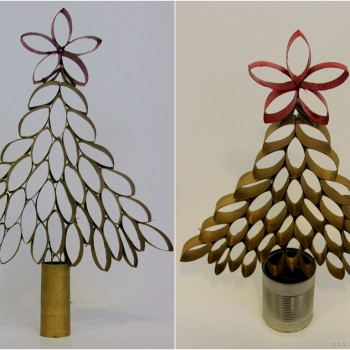 Christmas tree toilet paper roll craft