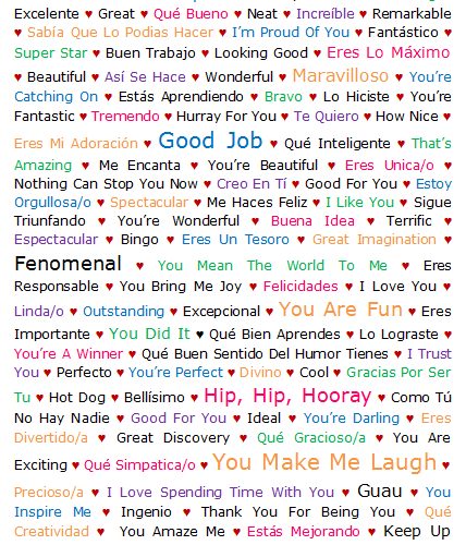 101 Ways to Praise a Bilingual (Spanish/English) Child {Printable}
