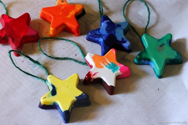 Melted crayon Christmas tree ornaments