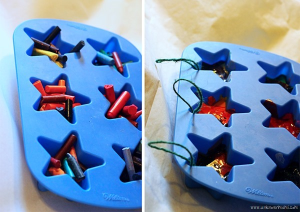 Turn broken crayons into ornaments