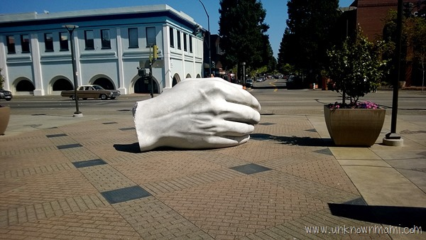 White hand in downtown Santa Rosa, CA.