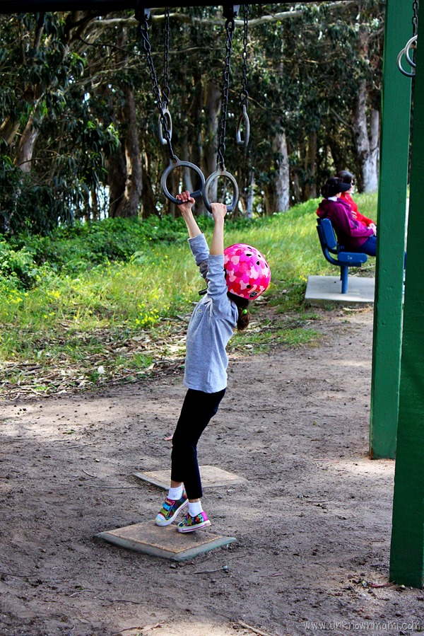 Pull-up rings on obstacle course around Lake Merced