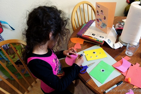 little girl crafting